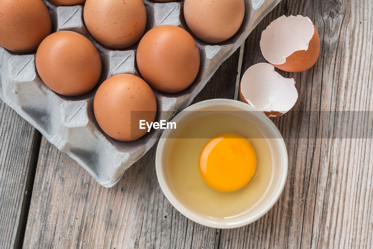 High angle view of egg yolk in bowl on table