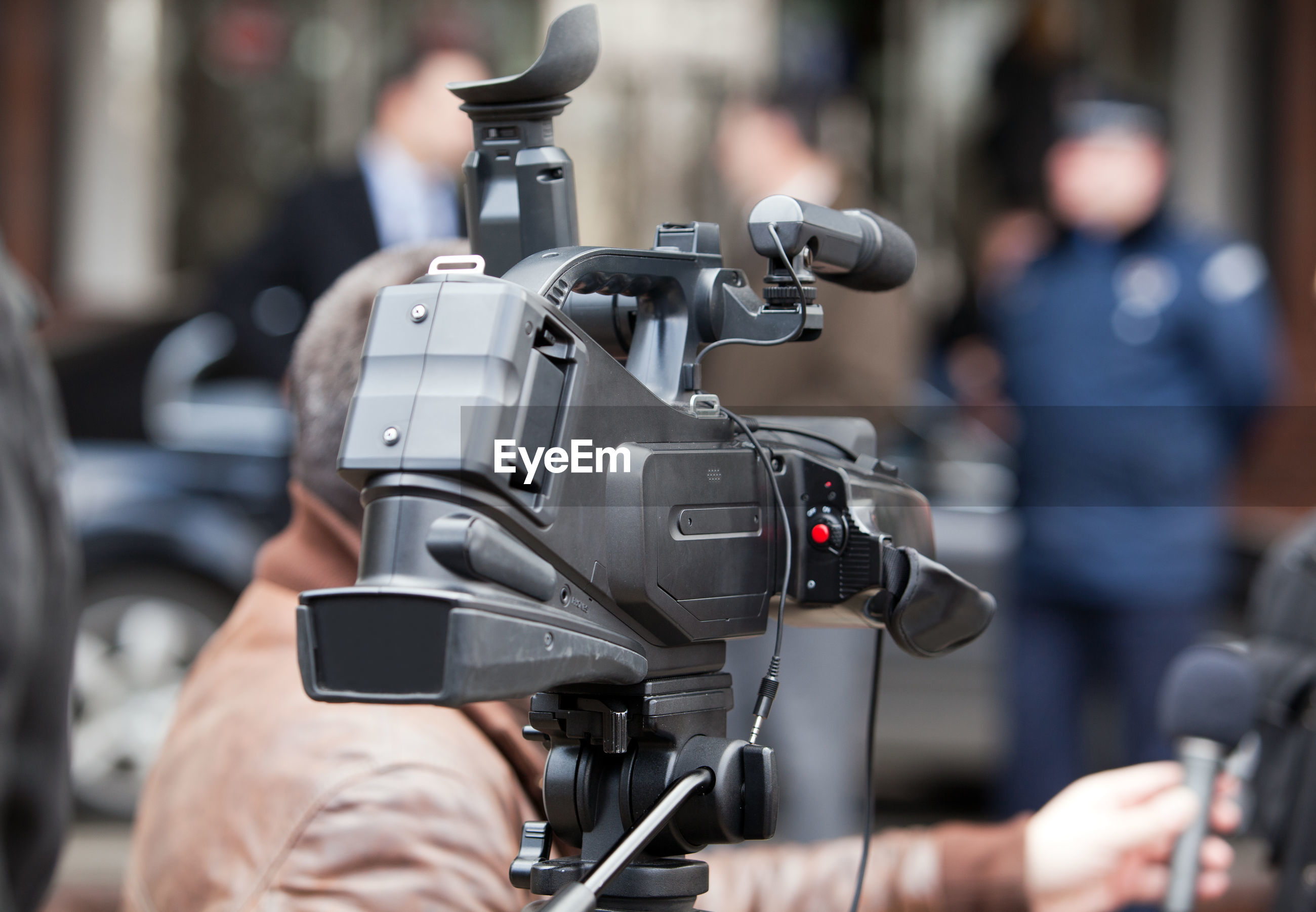 Close-up of camera during interview