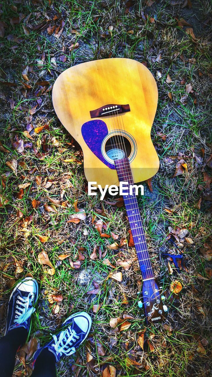 music, guitar, musical instrument, musical instrument string, acoustic guitar, arts culture and entertainment, string instrument, high angle view, human leg, shoe, electric guitar, outdoors, fretboard, day, leaf, musician, low section, grass, one person, nature, close-up, people