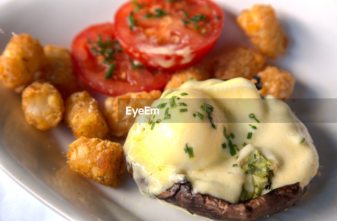 food, plate, food and drink, bread, egg, meat, breakfast, no people, indoors, meal, close-up, ready-to-eat, freshness, poached, day