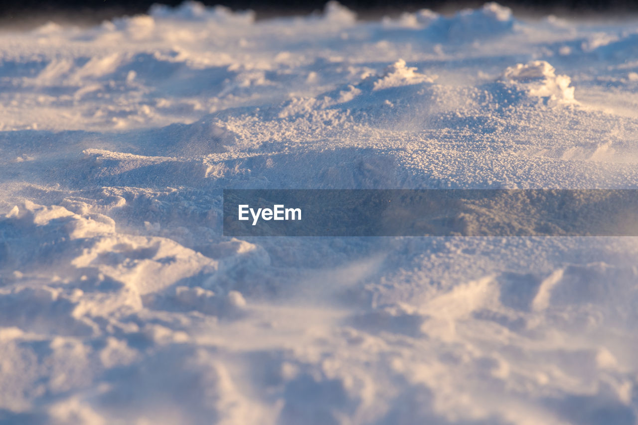 snow, winter, cold temperature, full frame, nature, day, no people, backgrounds, selective focus, beauty in nature, scenics - nature, field, white color, tranquility, covering, environment, close-up, land, outdoors, powder snow