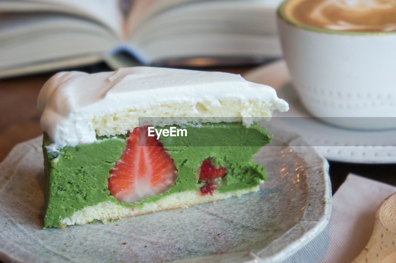 food and drink, food, indulgence, dessert, indoors, freshness, temptation, cake, sweet food, unhealthy eating, ready-to-eat, table, plate, close-up, serving size, slice, cream, no people, day
