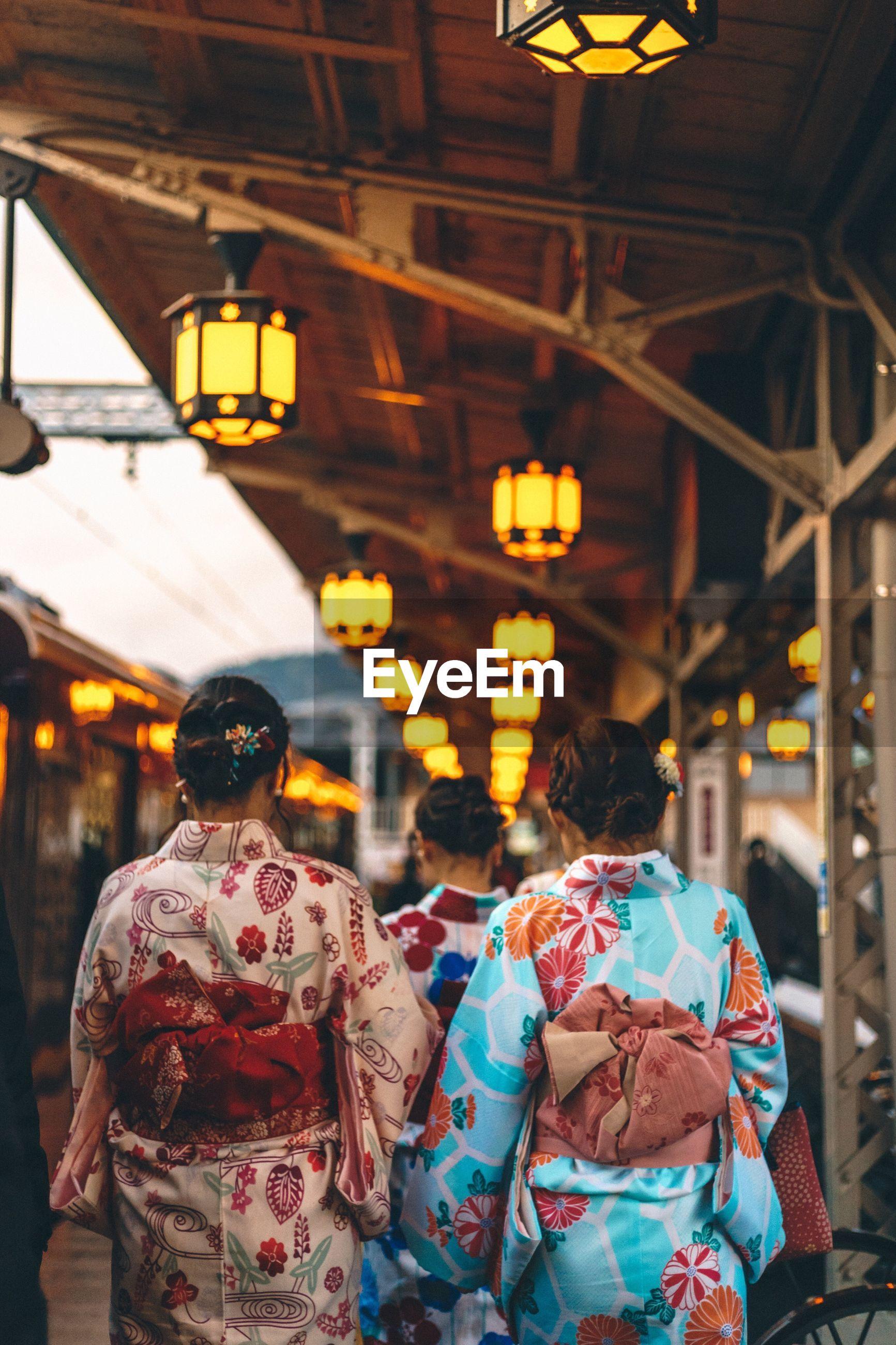 Close-up of women wearing japanese costume