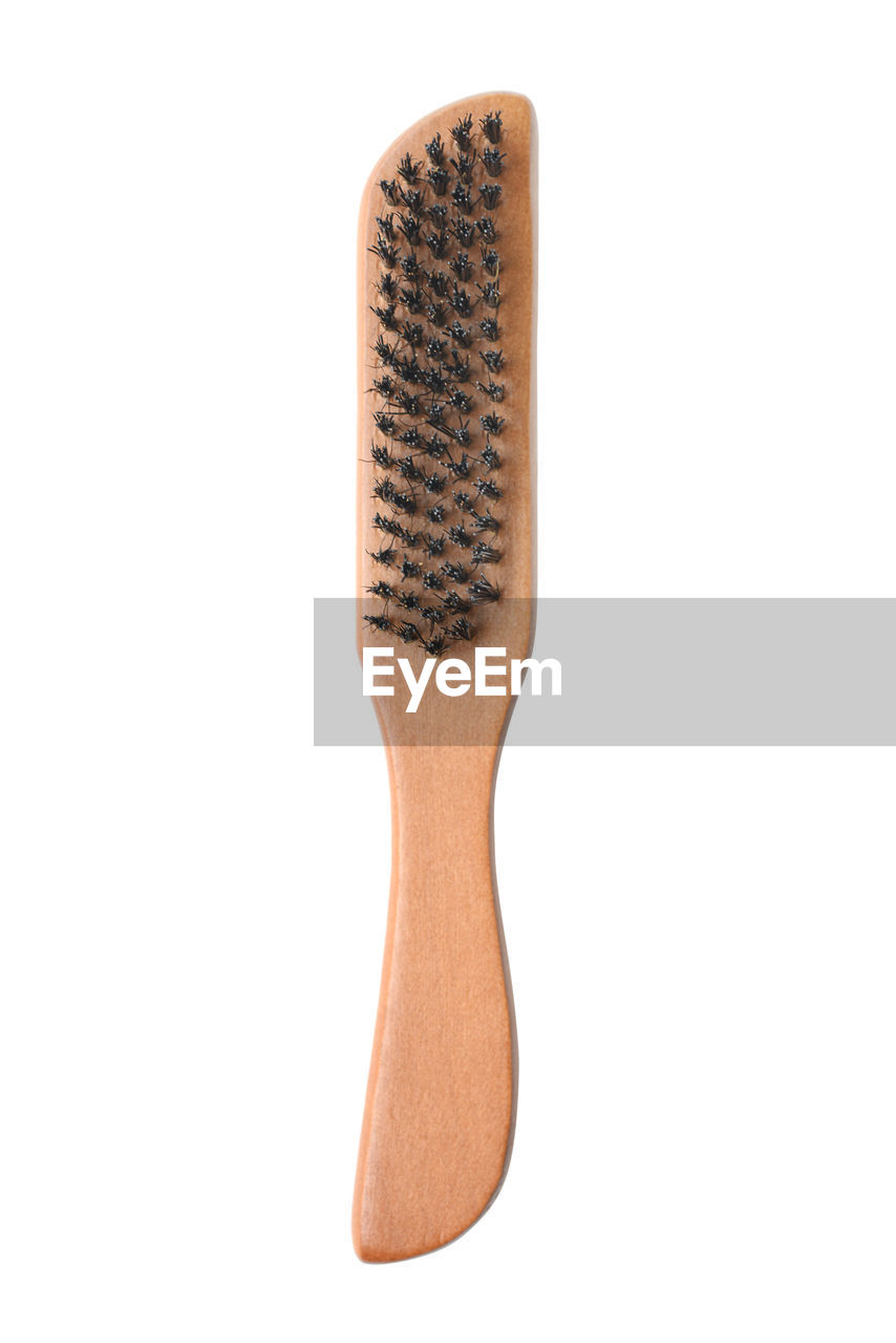 white background, studio shot, indoors, cut out, no people, single object, copy space, close-up, still life, brown, healthcare and medicine, communication, wood - material, text, equipment, number, technology, white color, man made object