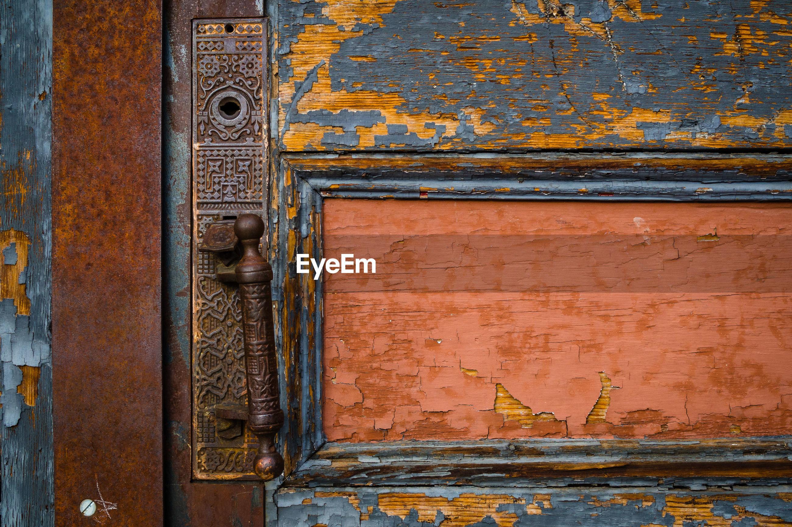 Close-up of metallic door handle