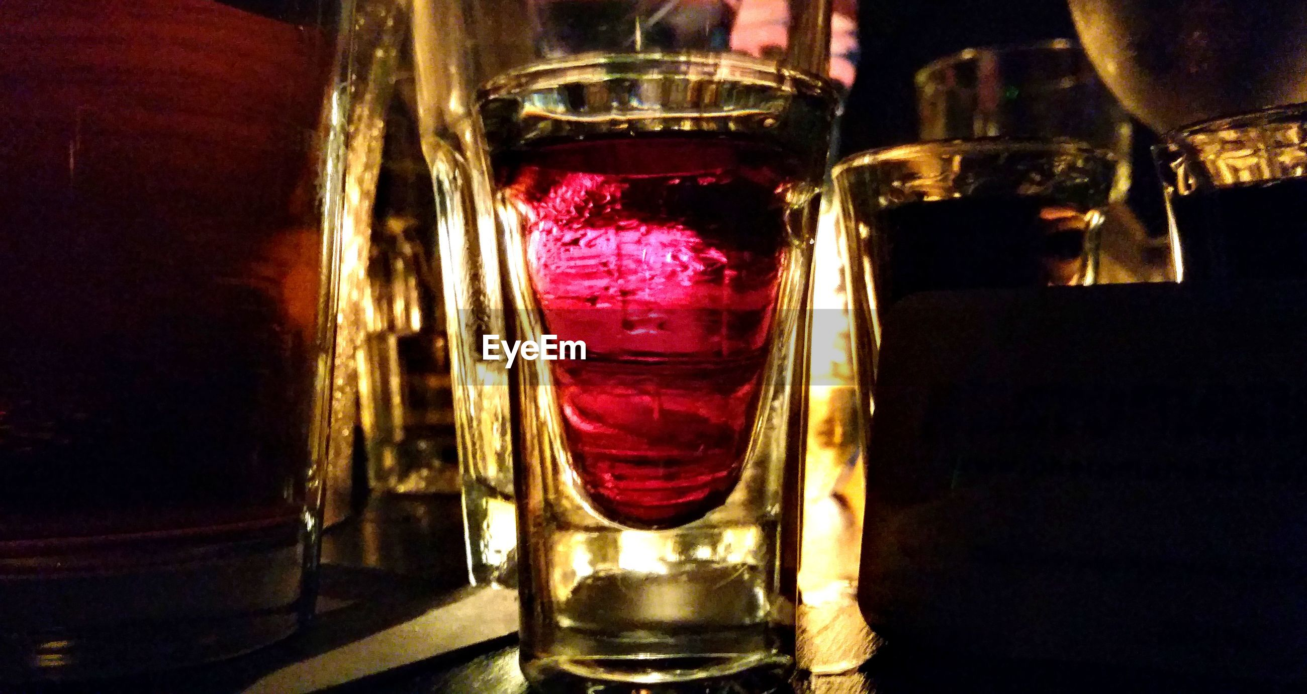 Close-up of drink glass on restaurant