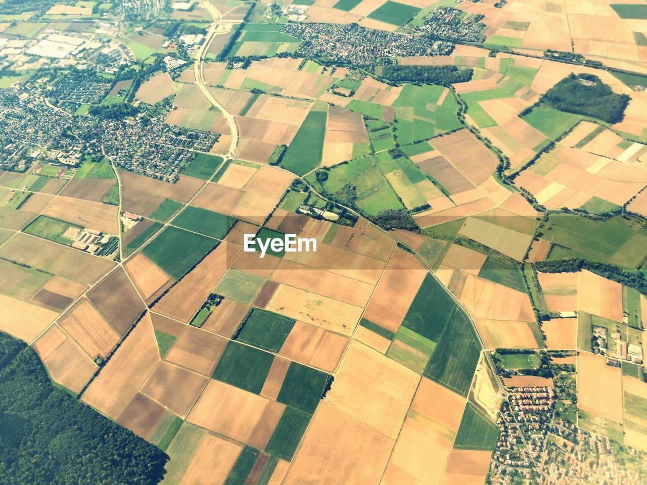 Aerial View Of Agricultural Field On Sunny Day