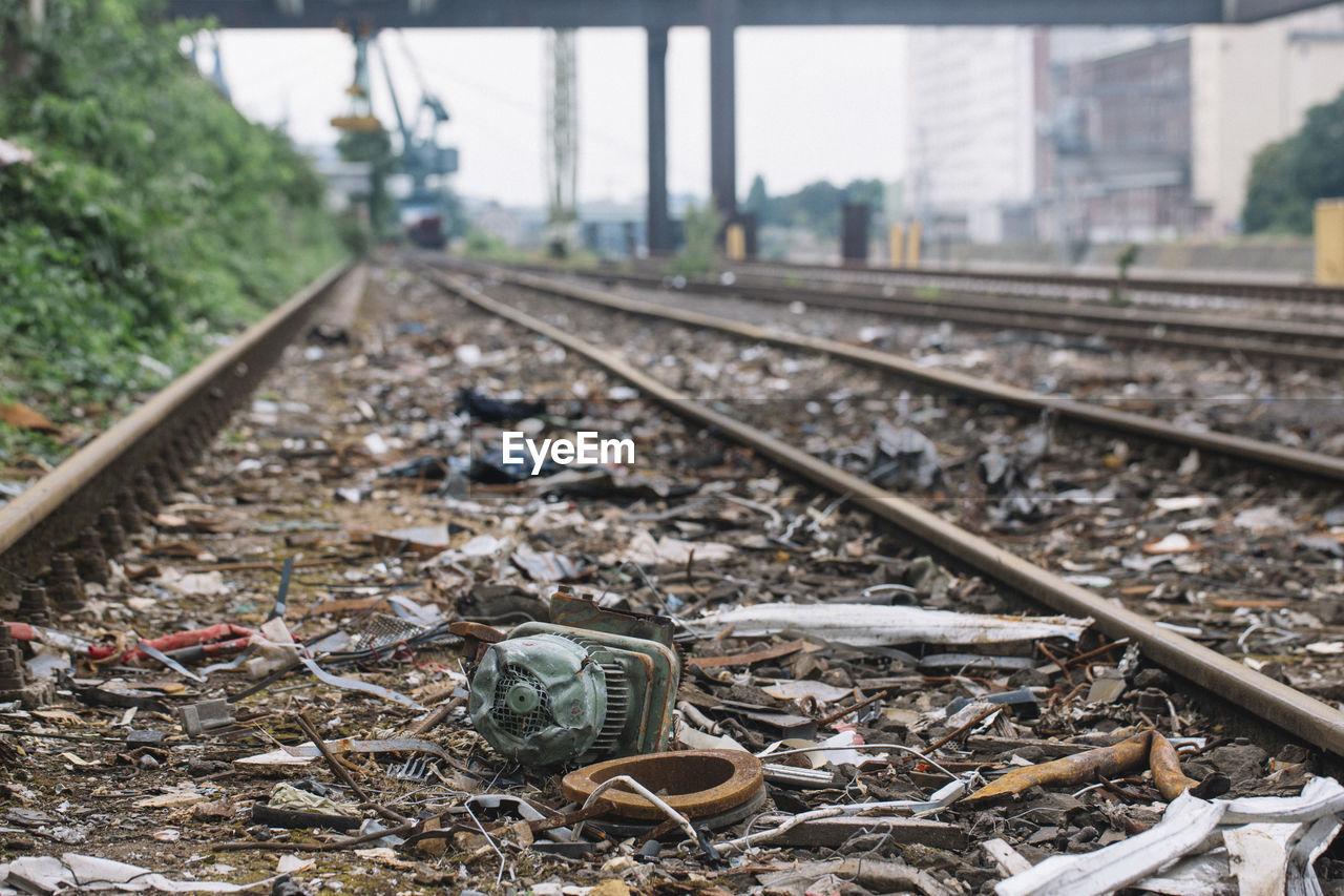 Scrap metals by railroad track