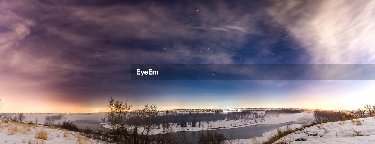 snow, cold temperature, winter, weather, beauty in nature, nature, scenics, tranquil scene, tranquility, sky, frozen, field, no people, landscape, cloud - sky, outdoors, sunset, tree, mountain, bare tree, night