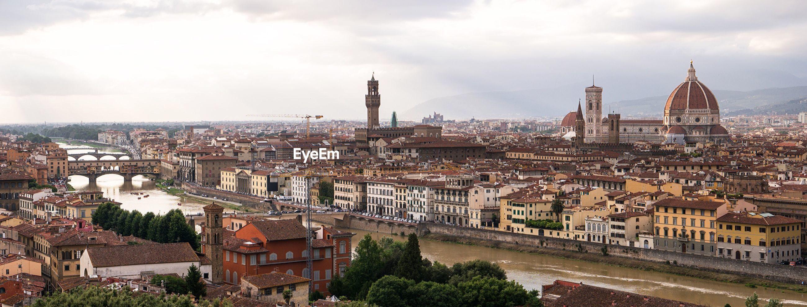 High angle view of ponte vecchio over arno river