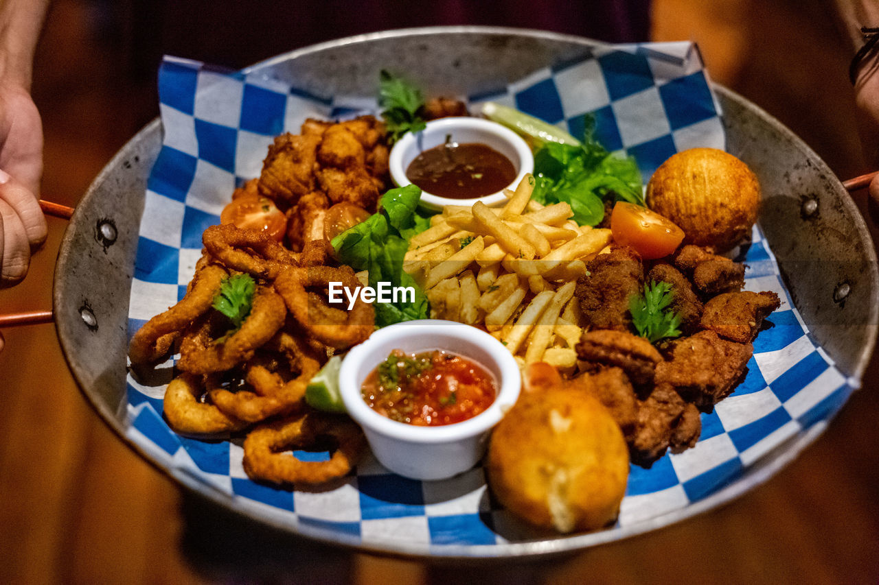 food, ready-to-eat, food and drink, freshness, plate, serving size, table, close-up, indoors, still life, healthy eating, bowl, high angle view, wellbeing, indulgence, focus on foreground, kitchen utensil, meat, meal, no people, fried, snack, temptation, crockery