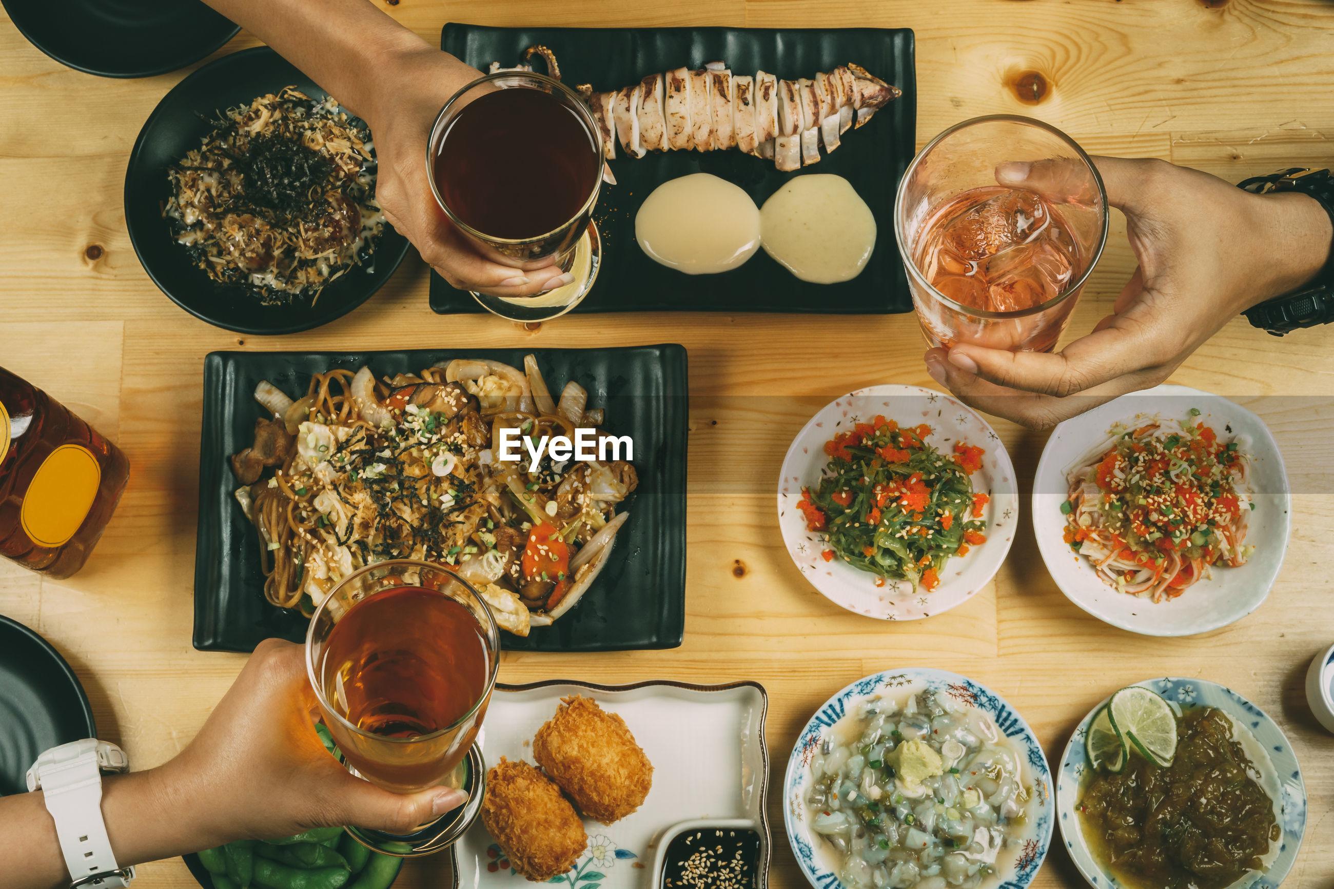 High angle view of served food