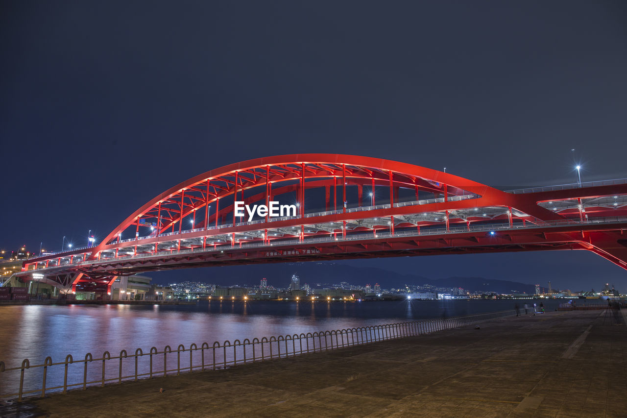 night, connection, illuminated, architecture, bridge, built structure, sky, transportation, bridge - man made structure, no people, motion, nature, city, red, water, river, long exposure, outdoors