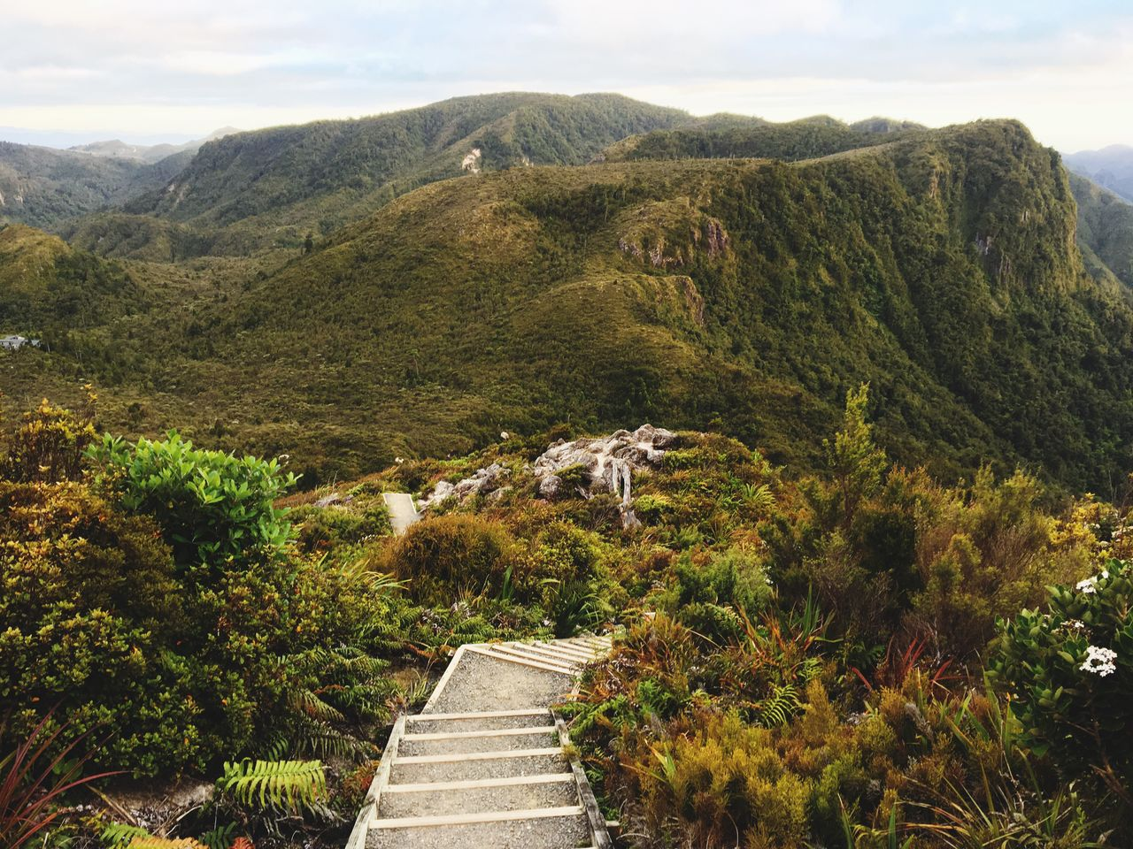 mountain, steps, tranquil scene, scenics, nature, tranquility, high angle view, mountain range, beauty in nature, day, steps and staircases, no people, outdoors, tree, landscape, sky