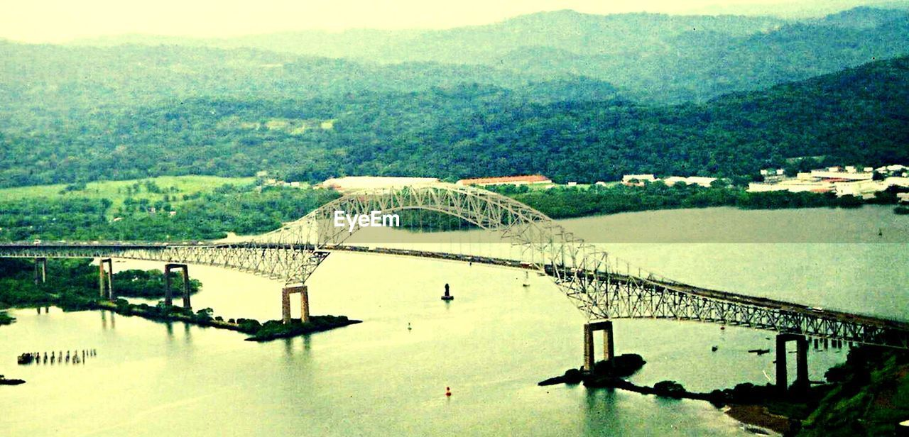 High angle view of bridge of the america over panama canal
