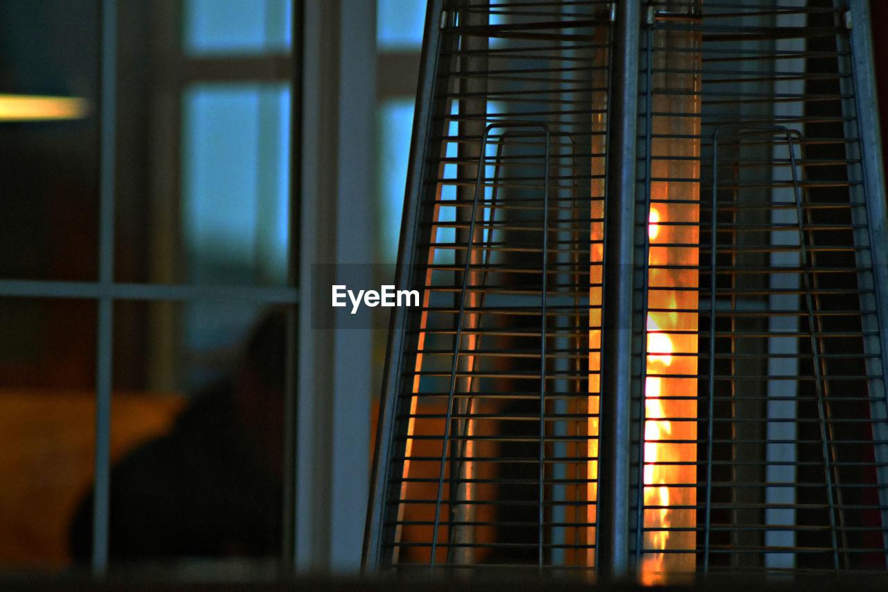 Fireplace seen through window
