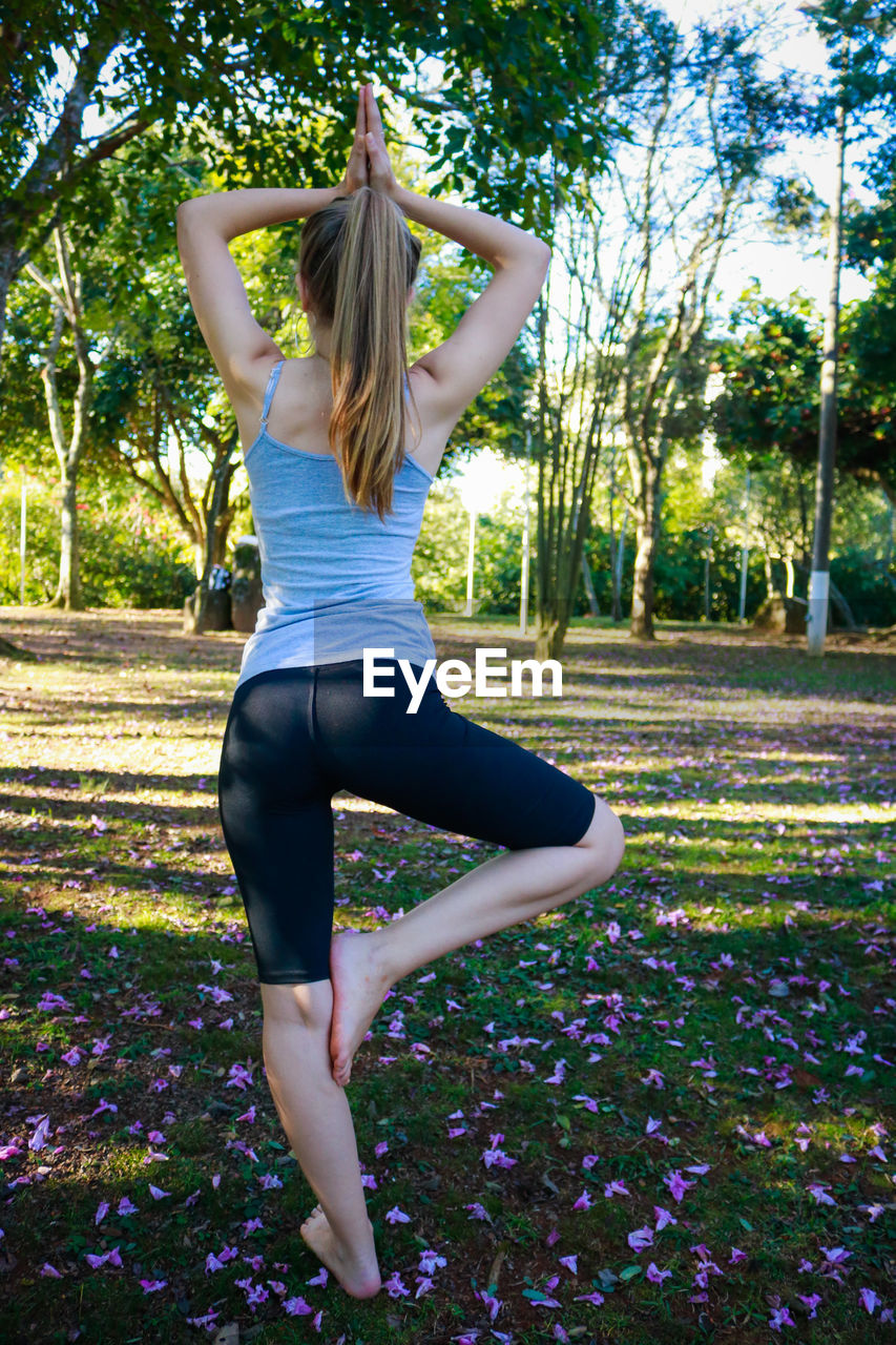 Rear view of young woman practicing tree pose at park