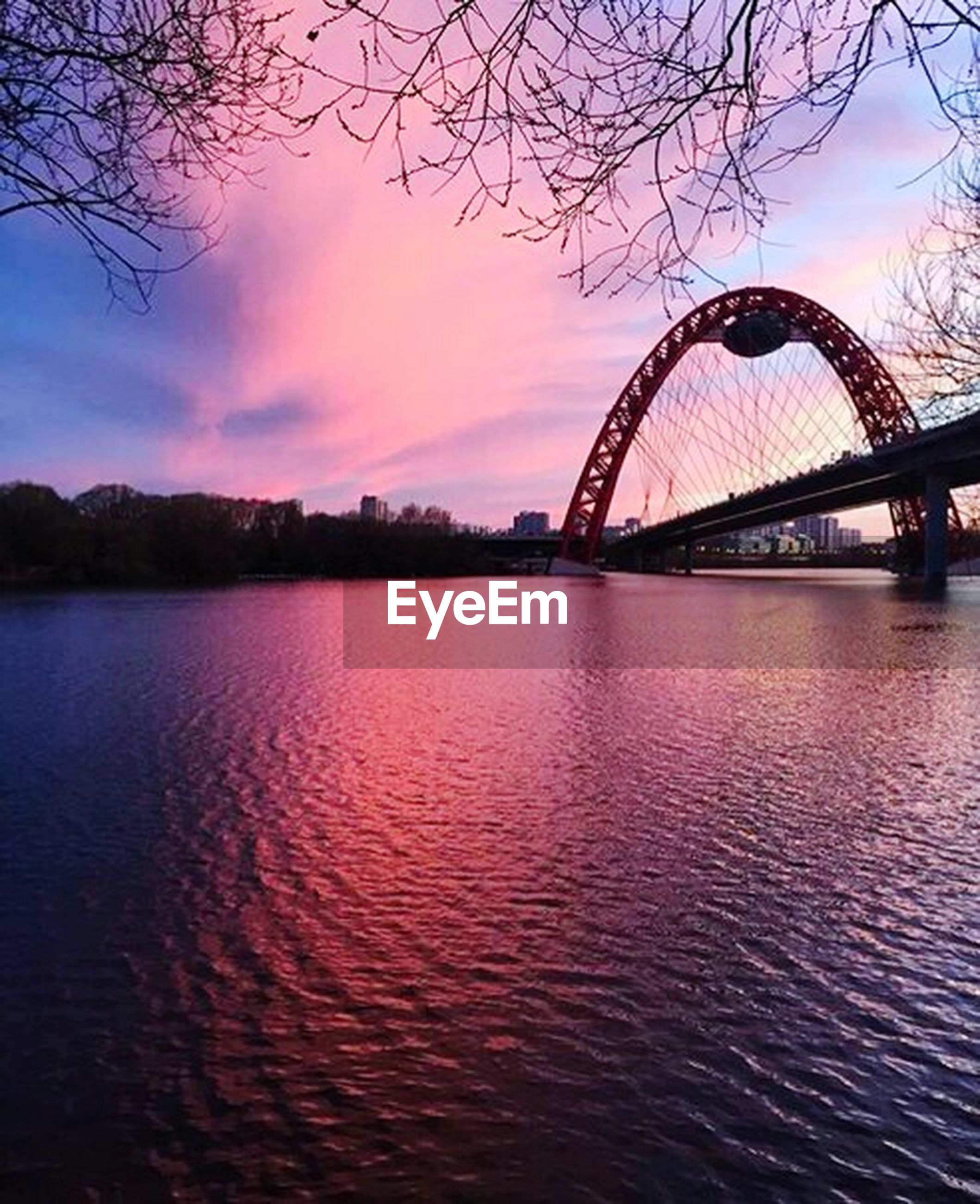 water, river, sky, waterfront, built structure, tree, ferris wheel, architecture, sunset, connection, bridge - man made structure, reflection, lake, silhouette, tranquil scene, scenics, cloud - sky, tranquility, bridge, travel destinations