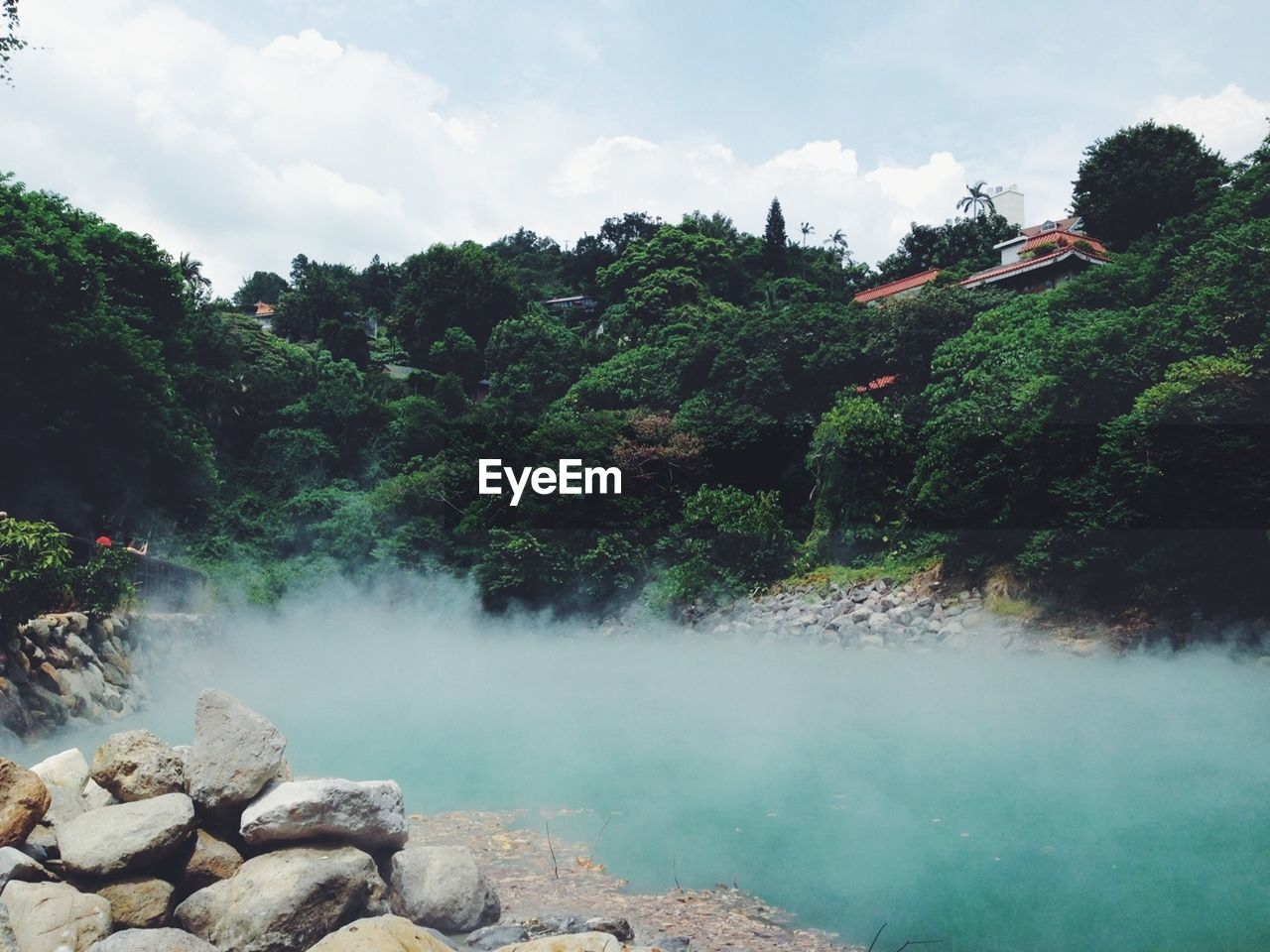 View of countryside hot spring
