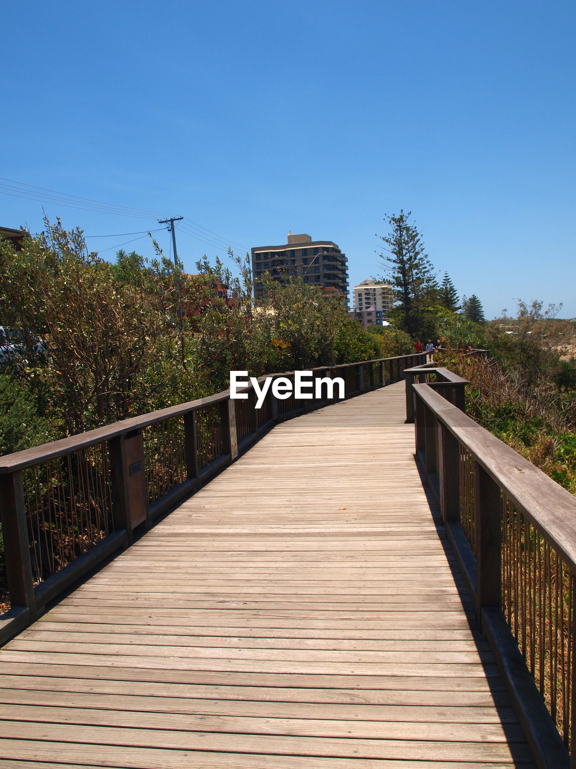 Wooden footbridge along plants and trees against clear sky