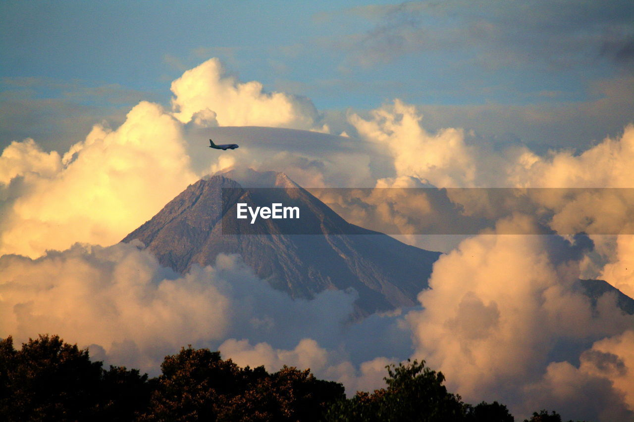 cloud - sky, sky, flying, beauty in nature, air vehicle, mountain, low angle view, scenics - nature, no people, mode of transportation, nature, airplane, transportation, tree, tranquil scene, vertebrate, tranquility, outdoors, plant, mid-air, mountain peak, plane