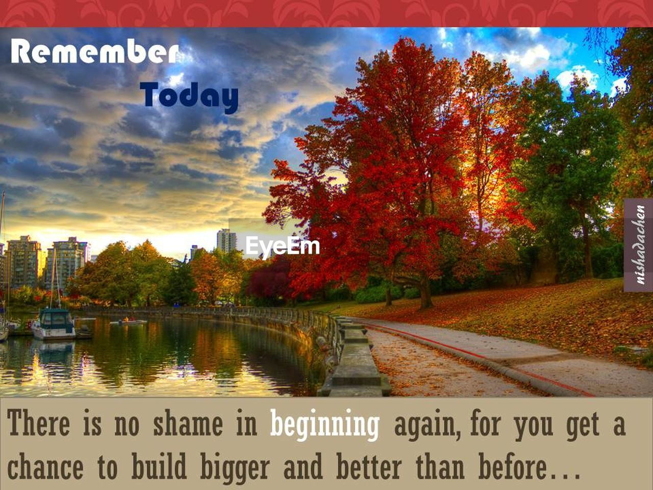 text, autumn, change, tree, water, no people, leaf, outdoors, communication, nature, scenics, sky, day, beauty in nature