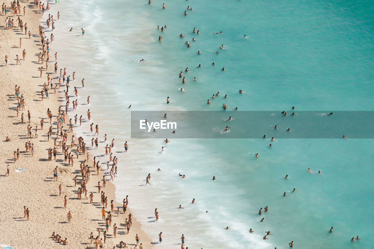 AERIAL VIEW OF BEACH WITH CROWD