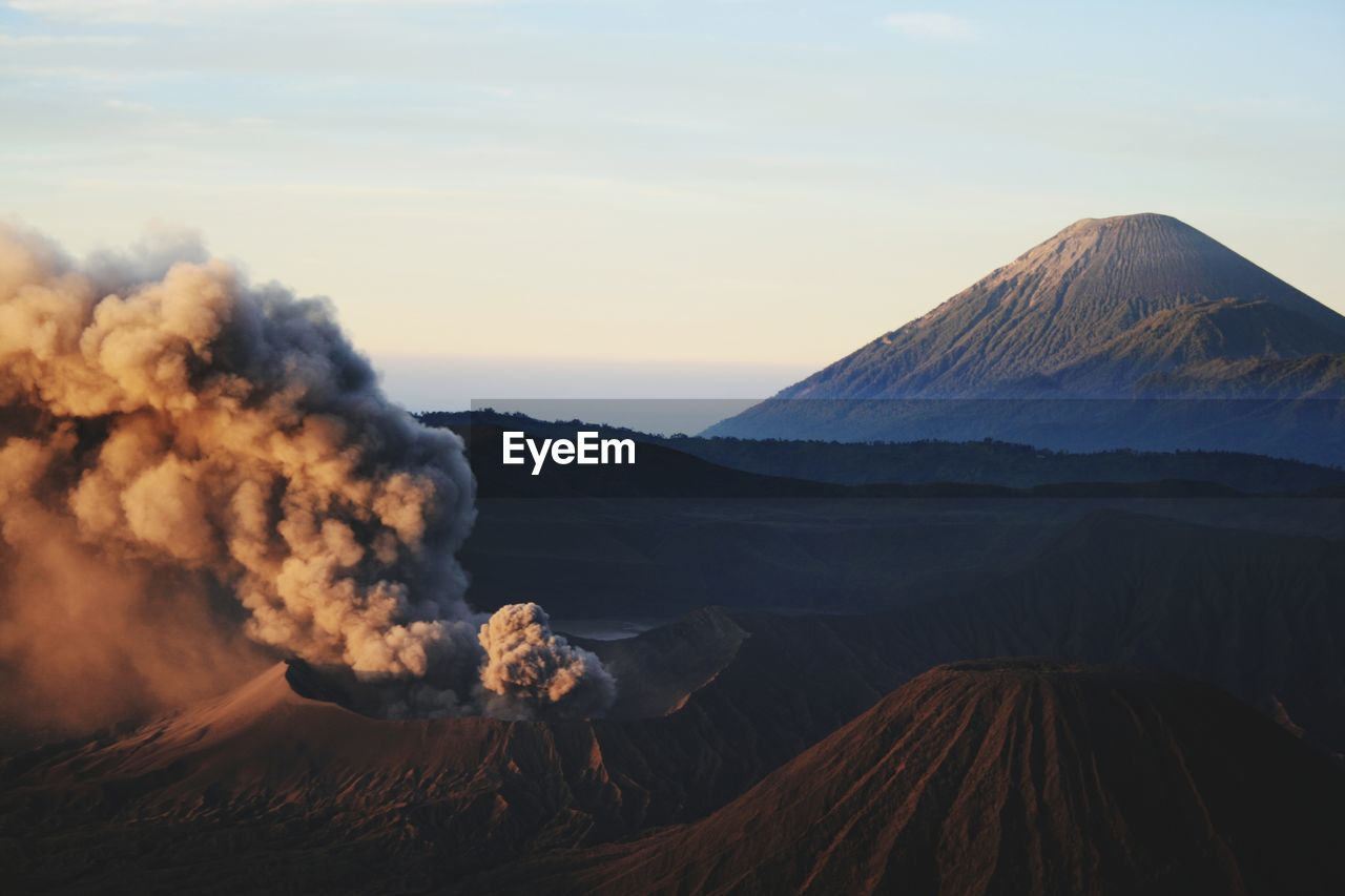 Sunrise with view on the bromo vulcano