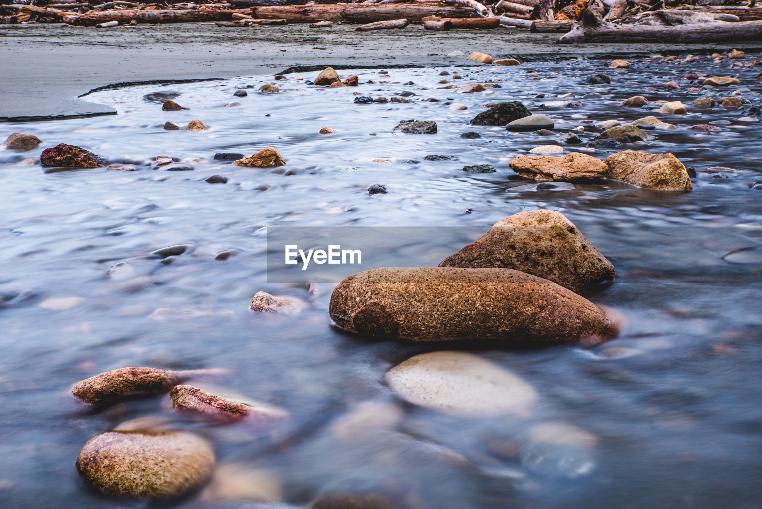 Close-up of pebbles on shore in water