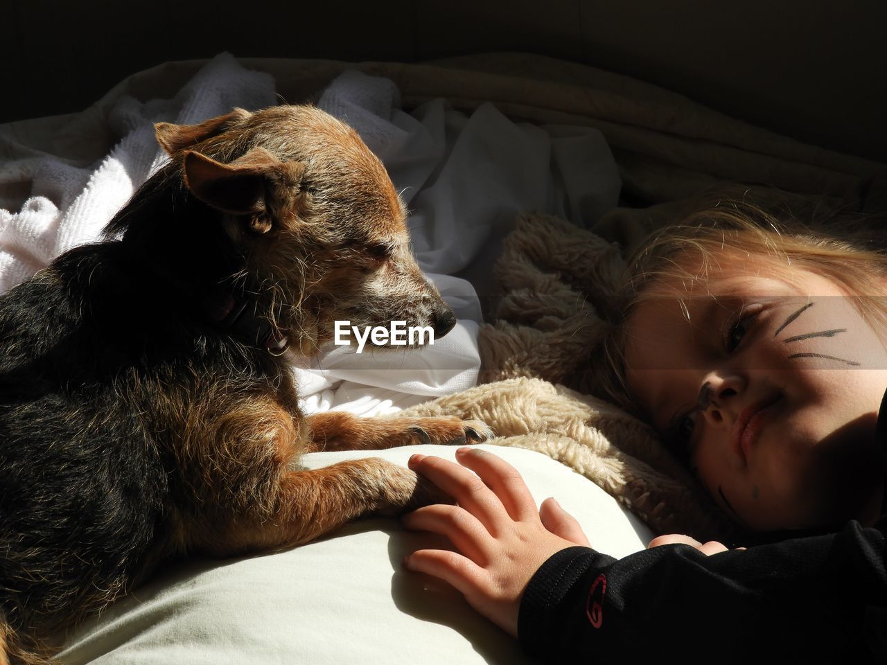 Close-Up Of Cute Girl Lying On Bed With Dog
