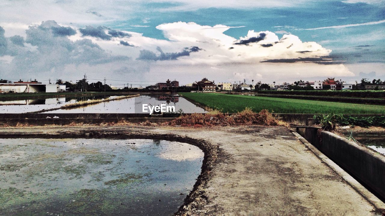 cloud - sky, sky, agriculture, day, building exterior, field, architecture, outdoors, built structure, water, landscape, rural scene, nature, no people, tree, beauty in nature
