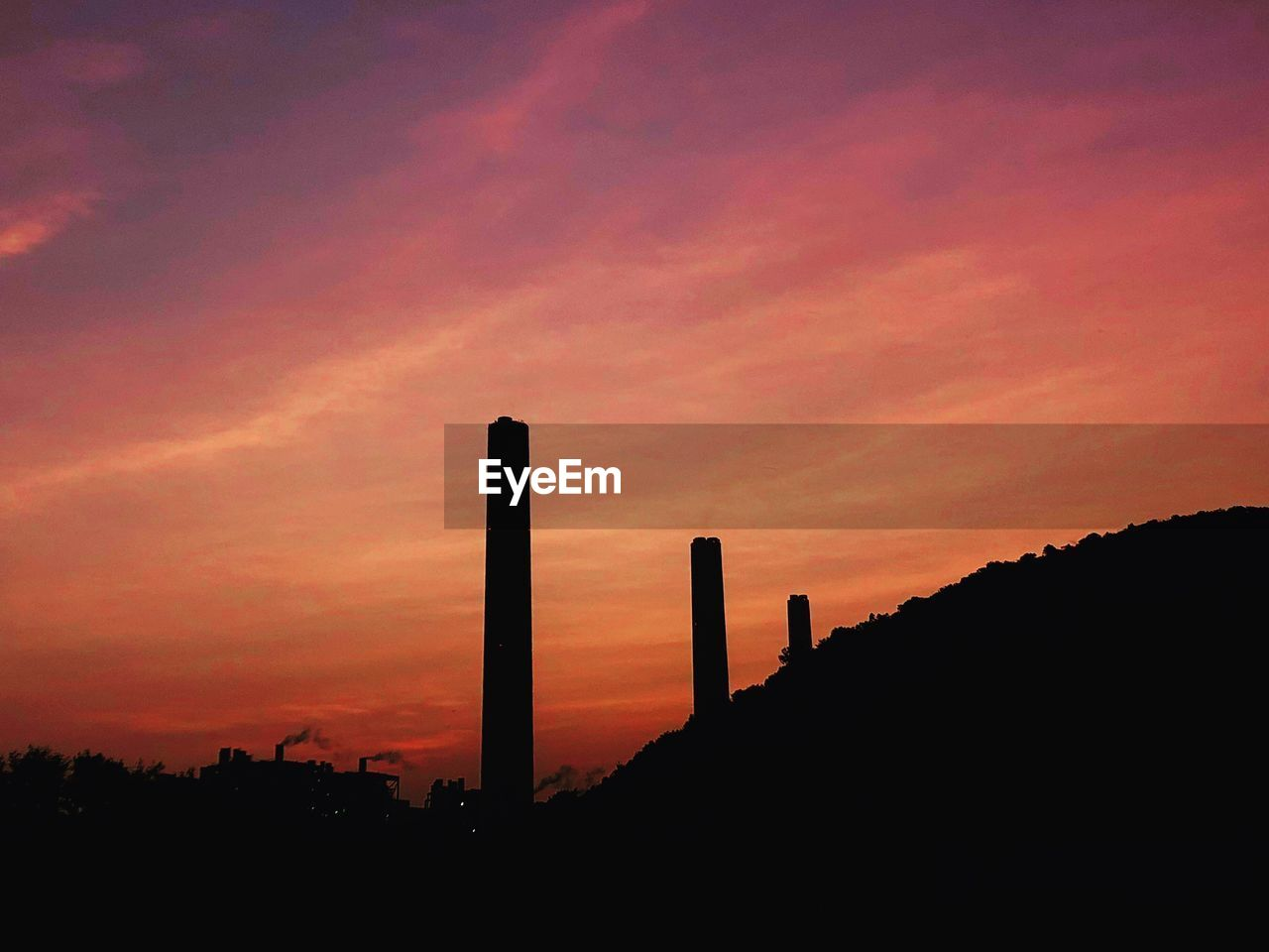 sunset, silhouette, industry, built structure, orange color, factory, sky, architecture, smoke stack, no people, outdoors, nature, building exterior, beauty in nature, day