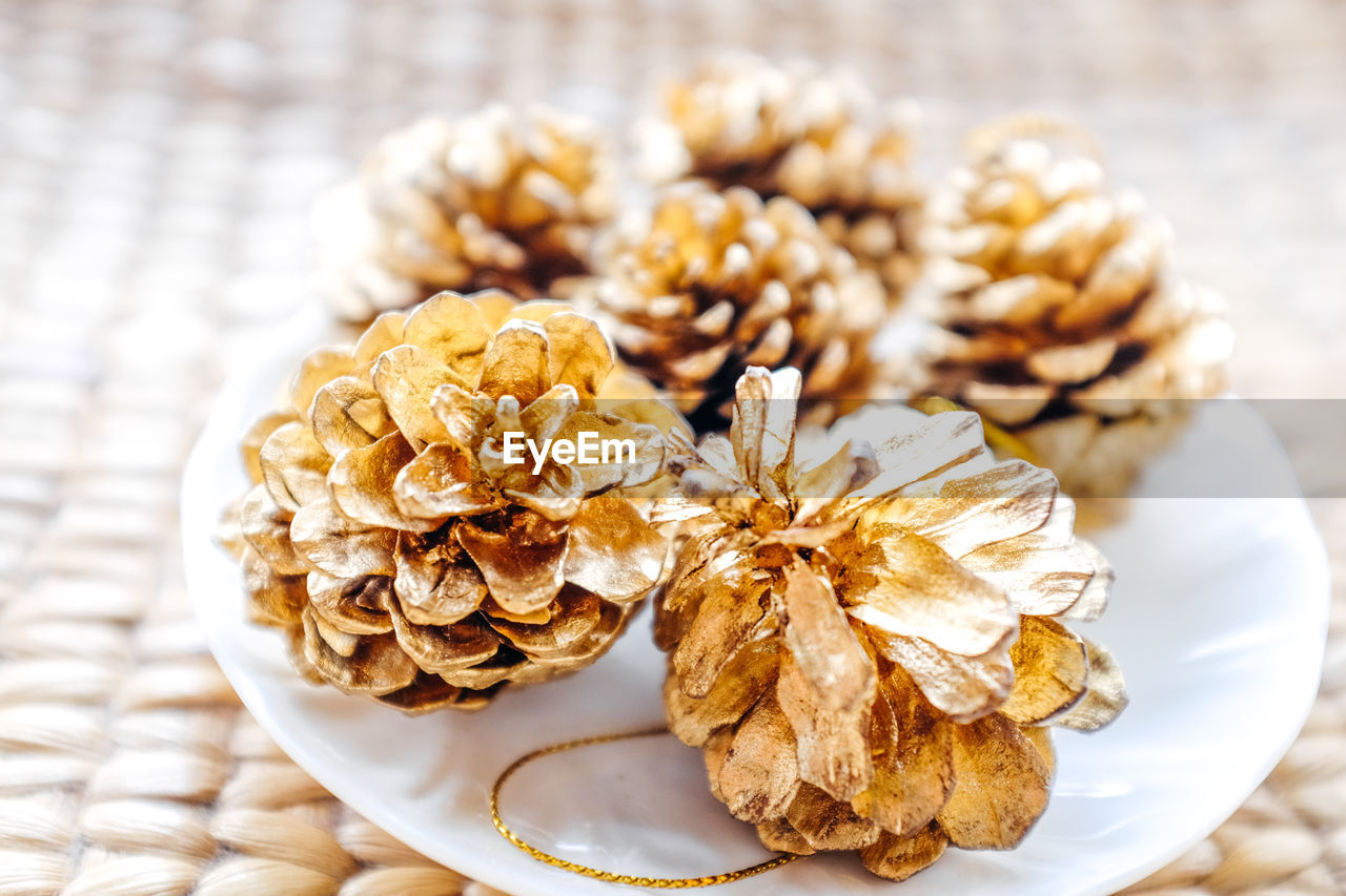 Close up of pine cone christmas ornaments