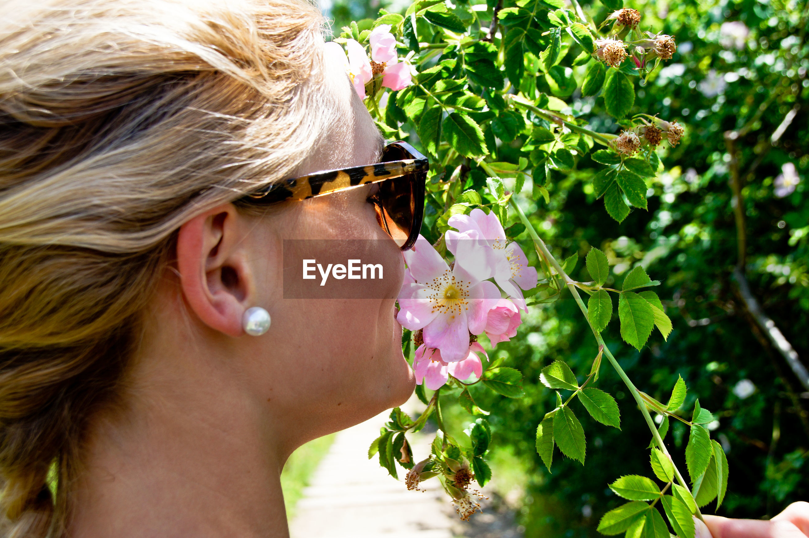 Close-up of woman smelling flowers on plant