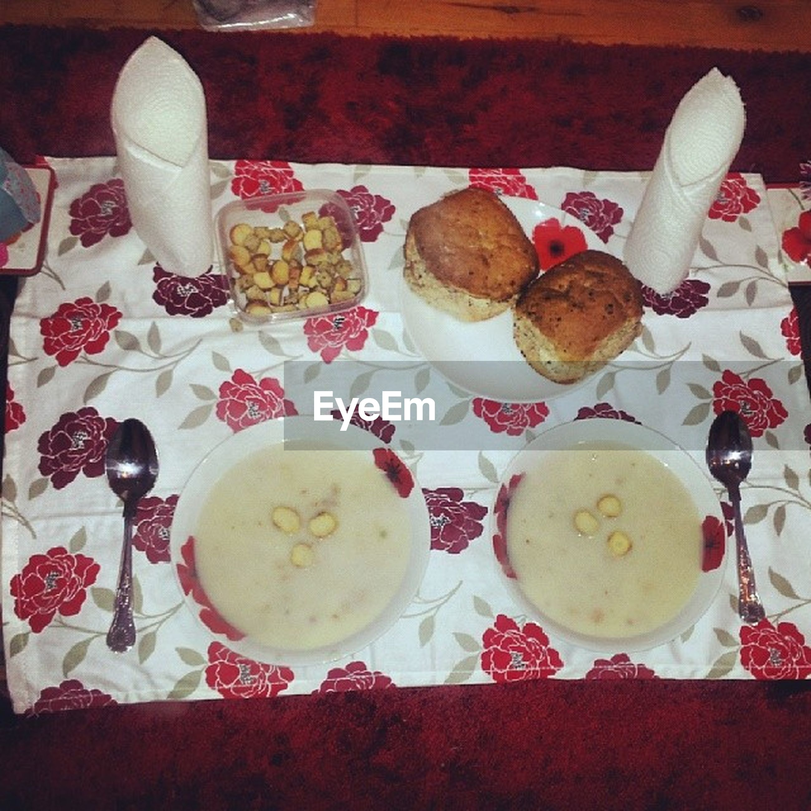 food and drink, indoors, freshness, table, food, still life, plate, ready-to-eat, drink, coffee cup, high angle view, sweet food, refreshment, coffee - drink, indulgence, dessert, saucer, serving size, tablecloth, breakfast
