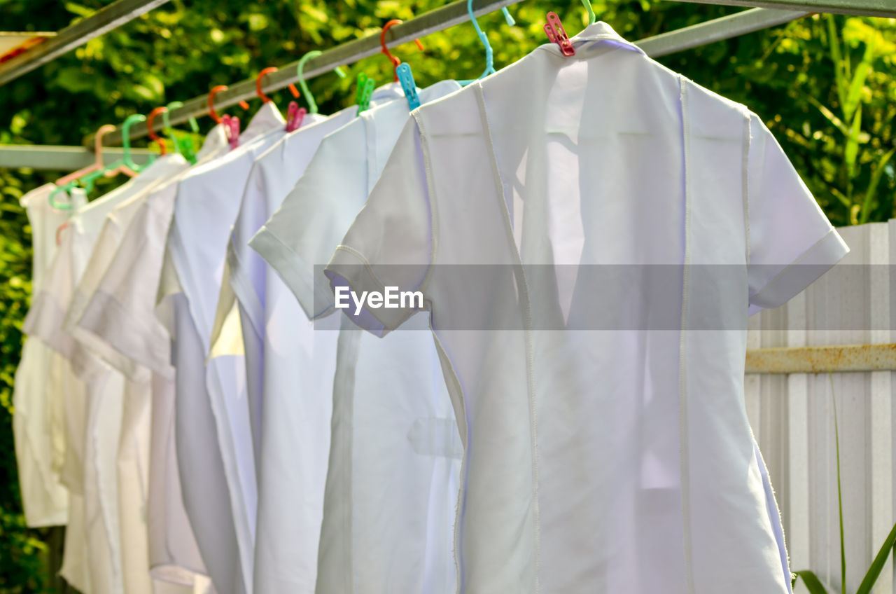 hanging, clothing, laundry, textile, drying, white color, day, clothesline, no people, focus on foreground, cleaning, housework, plant, in a row, nature, side by side, outdoors, washing, clean, coathanger