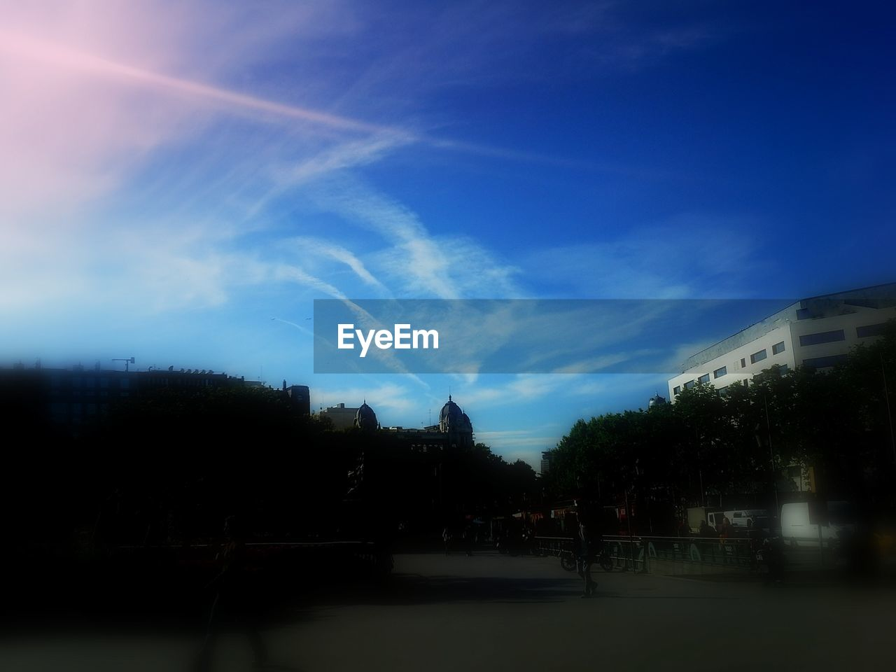 sky, blue, no people, nature, tree, outdoors, city