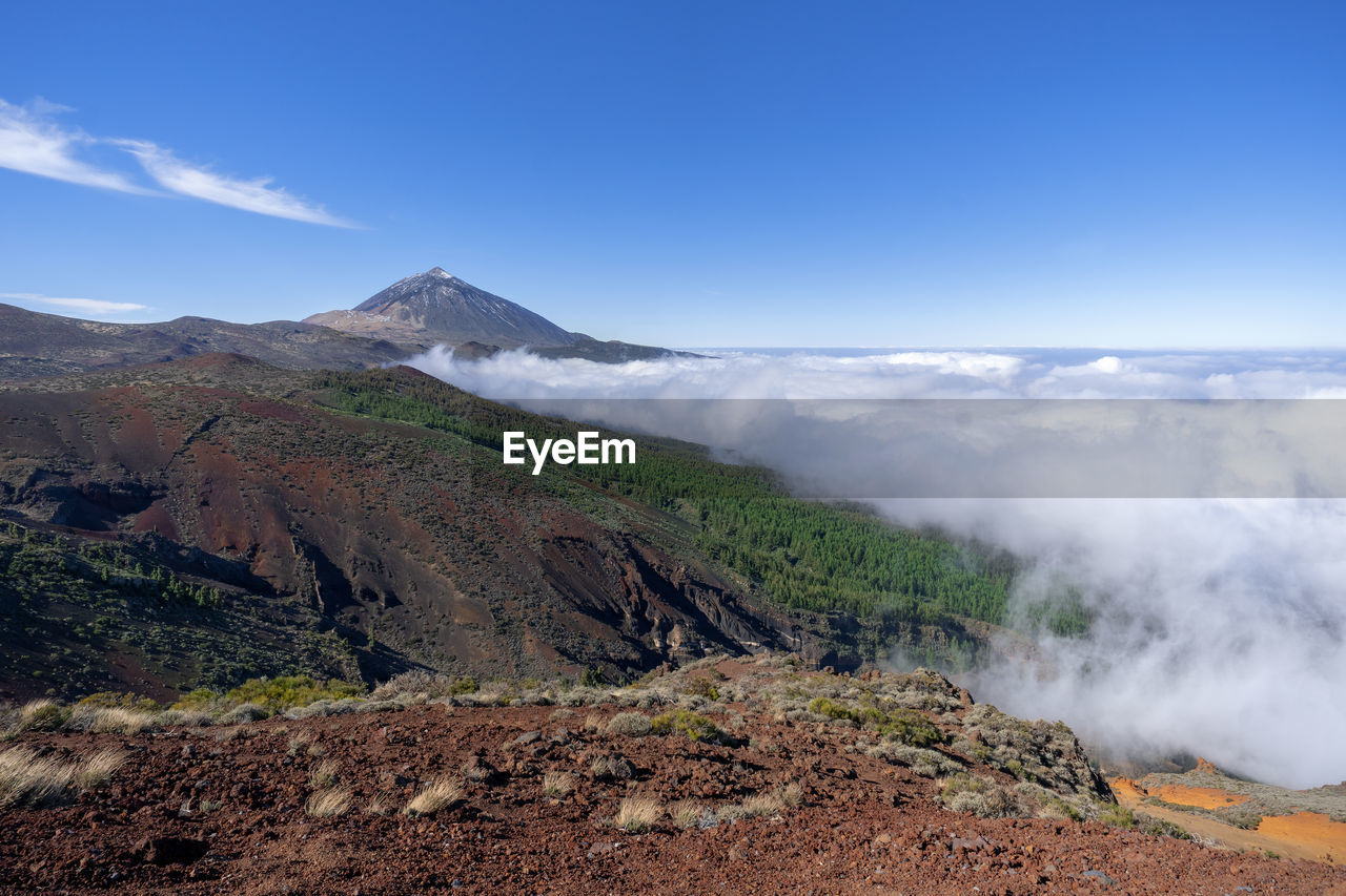 mountain, sky, scenics - nature, landscape, beauty in nature, environment, tranquil scene, non-urban scene, tranquility, cloud - sky, volcano, nature, day, no people, geology, idyllic, physical geography, volcanic landscape, land, smoke - physical structure, mountain range, outdoors, volcanic crater, formation, power in nature