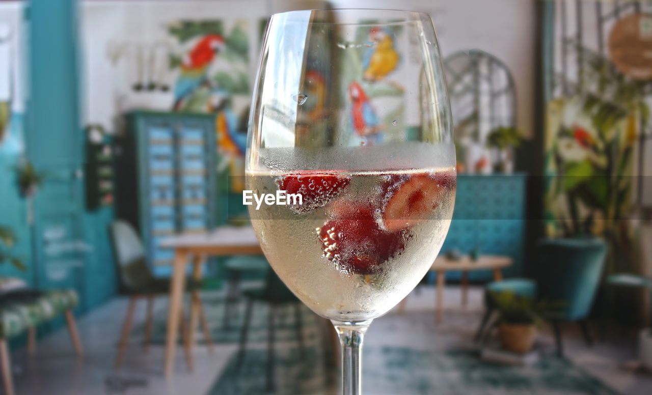 Close-Up Of Fruit In Wineglass