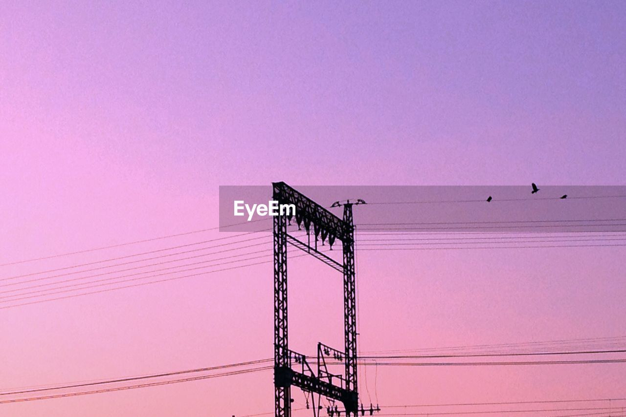 cable, silhouette, electricity, bird, low angle view, connection, power line, electricity pylon, power supply, no people, animal themes, animals in the wild, pink color, sunset, clear sky, technology, perching, outdoors, nature, sky, day