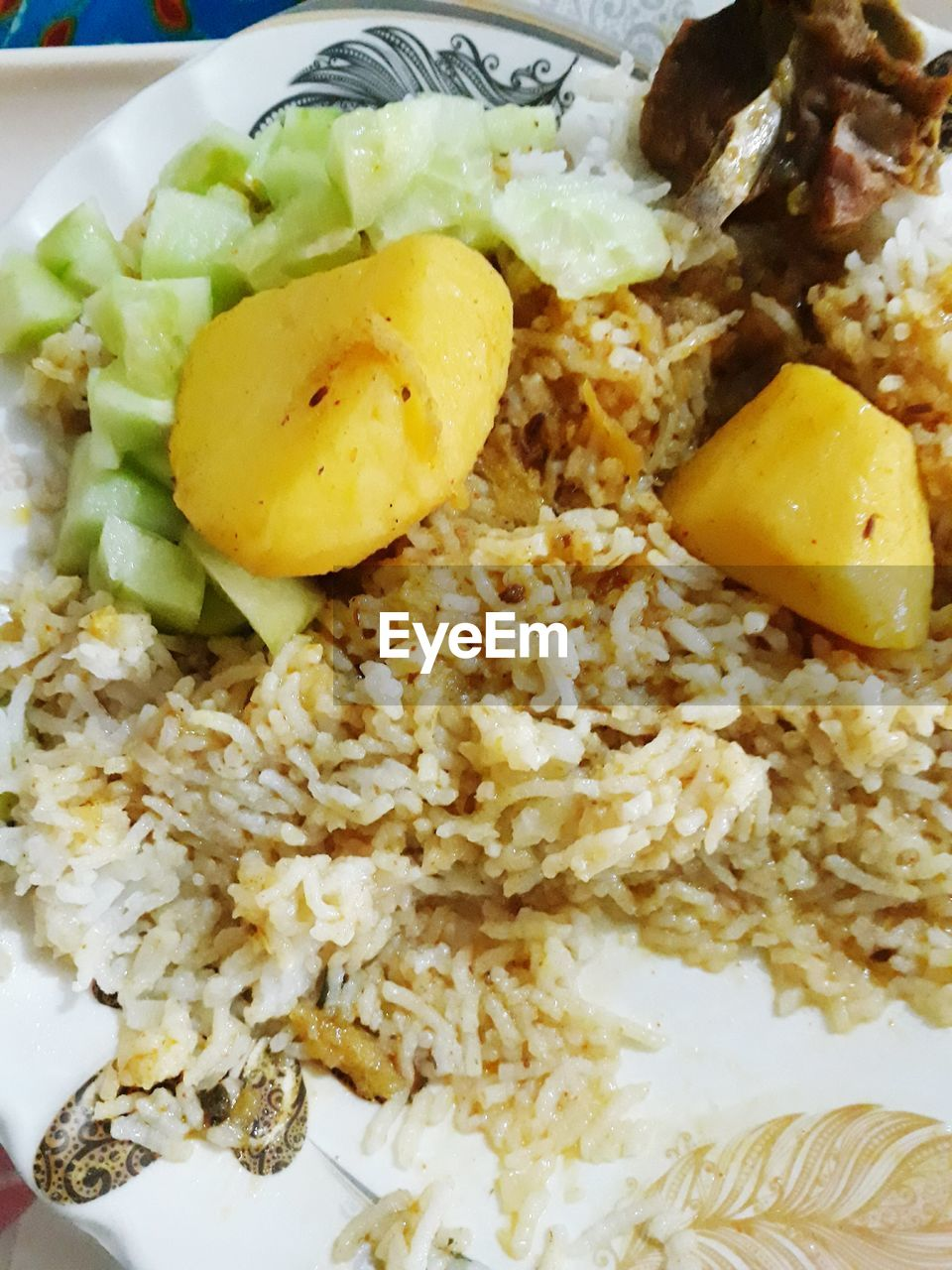 food, food and drink, healthy eating, rice - food staple, plate, ready-to-eat, freshness, serving size, yellow, no people, indoors, close-up, fried rice, day