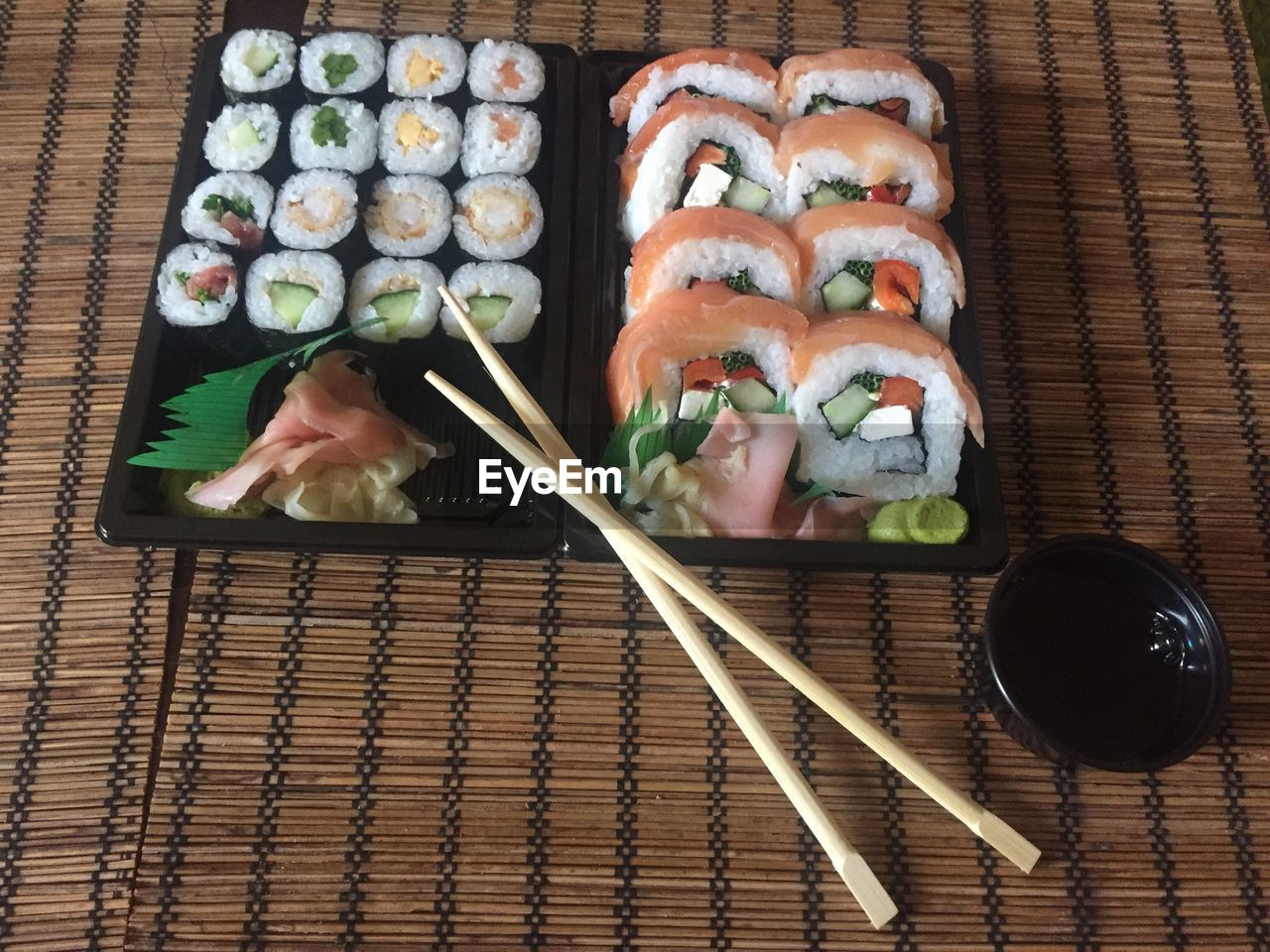 chopsticks, japanese food, sushi, food and drink, freshness, food, rice - food staple, seafood, asian food, ready-to-eat, no people, healthy eating, high angle view, directly above, indoors, plate, close-up, day