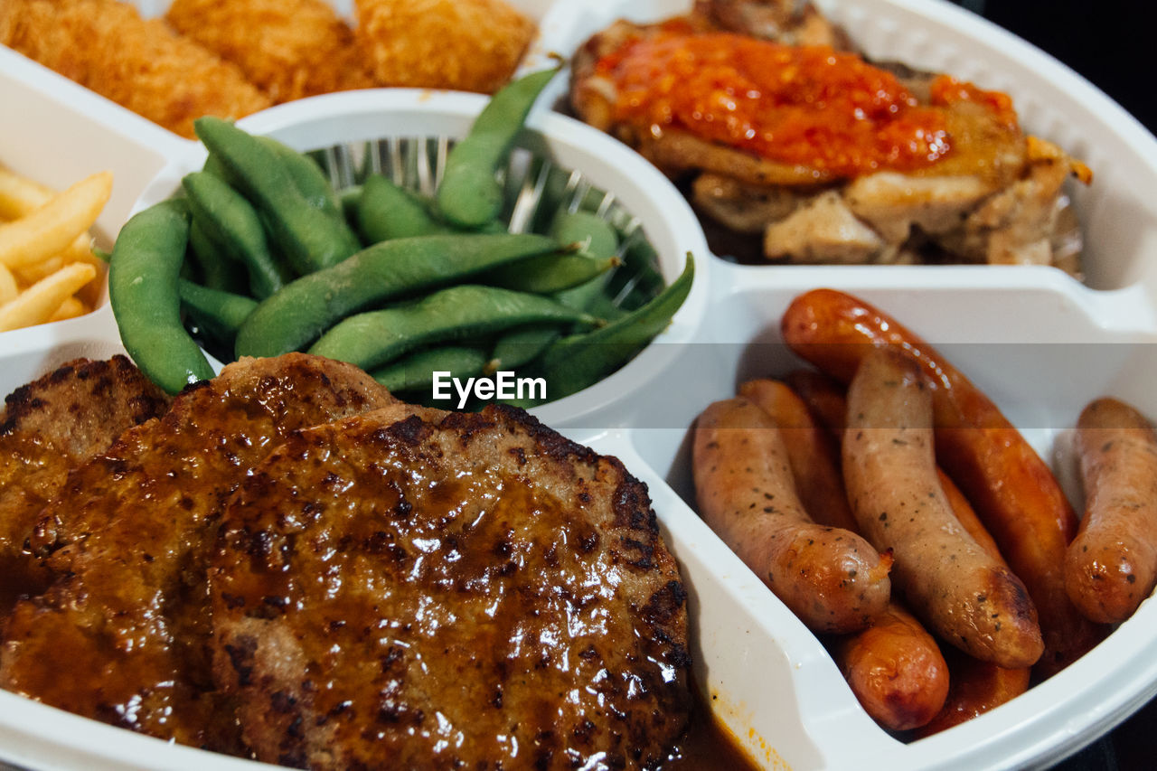 View Of Variety Of Food In One Plate