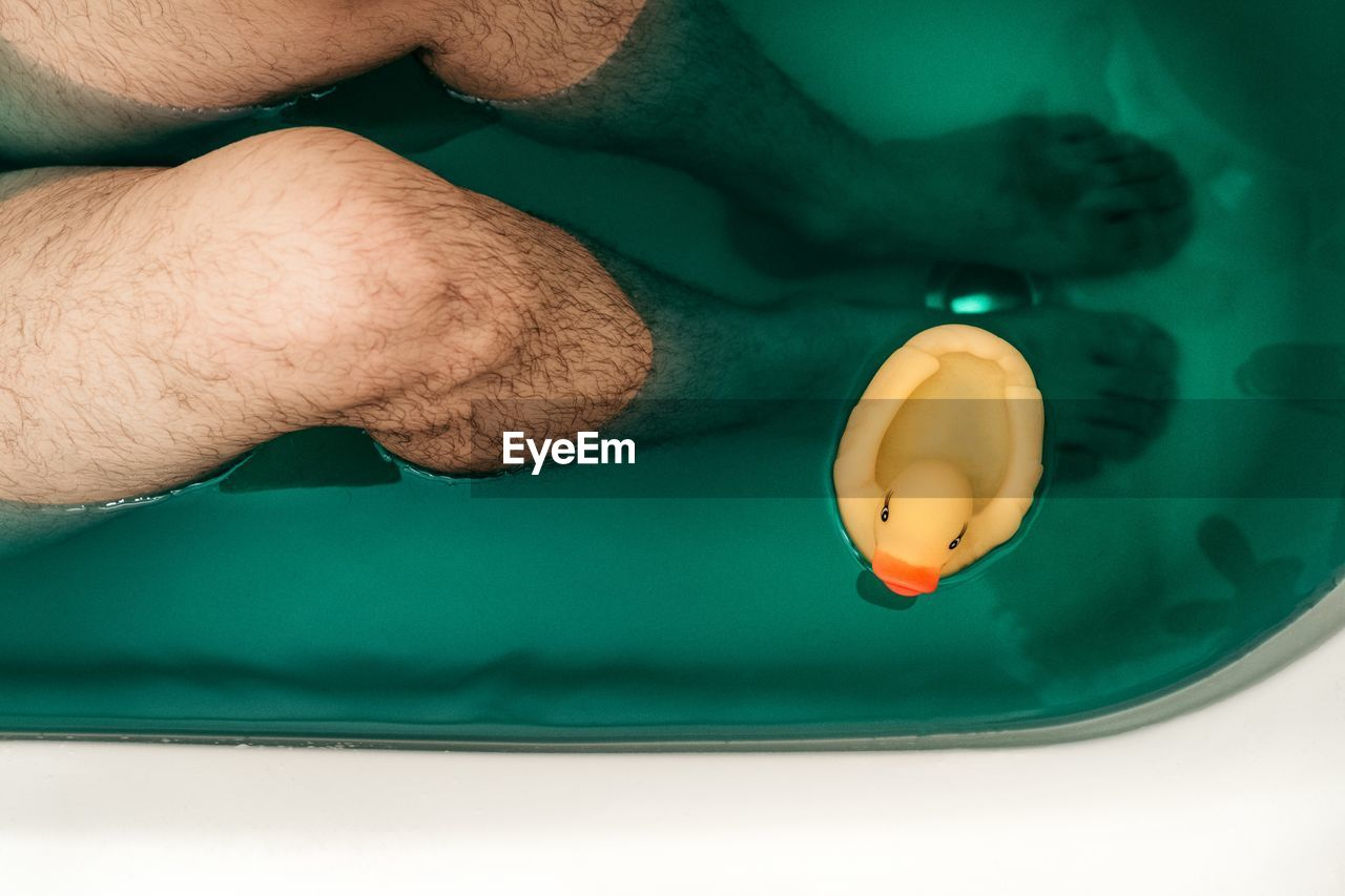 Low Section Of Man By Rubber Duck In Bathtub