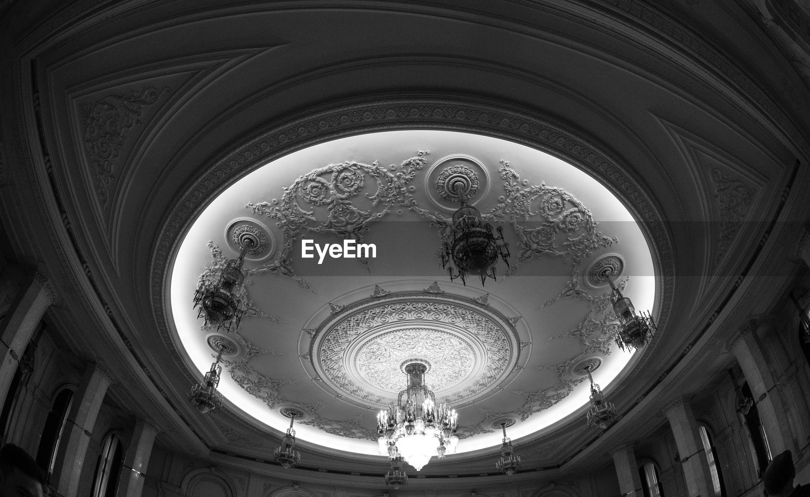 Low angle view of ornate ceiling in building