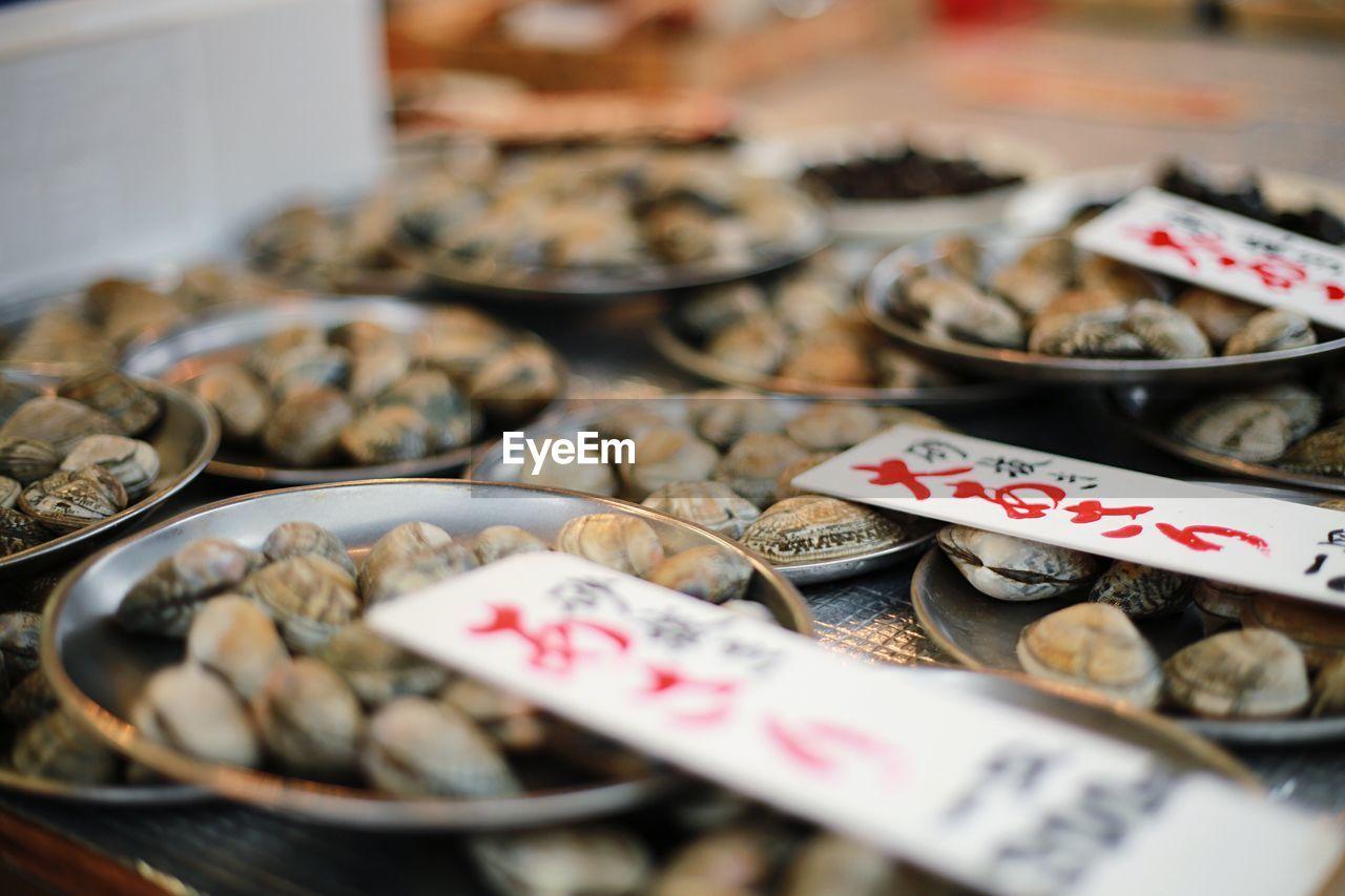 Seashells Displayed At Market Stall