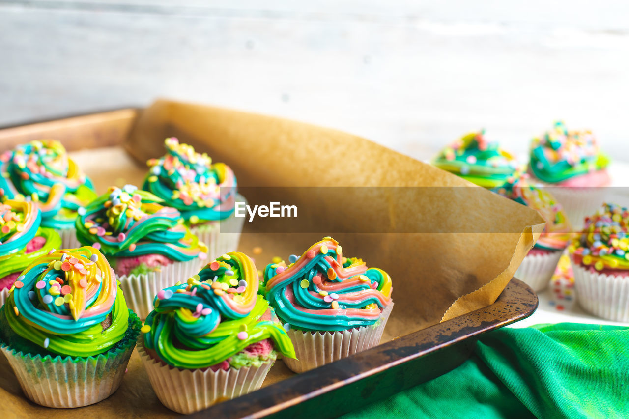 sweet food, indulgence, food and drink, food, still life, temptation, multi colored, sweet, close-up, unhealthy eating, ready-to-eat, indoors, freshness, no people, dessert, baked, table, cupcake, focus on foreground, cake, snack