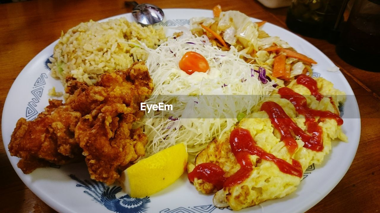 food, food and drink, plate, ready-to-eat, rice - food staple, serving size, freshness, indoors, close-up, no people, healthy eating, day