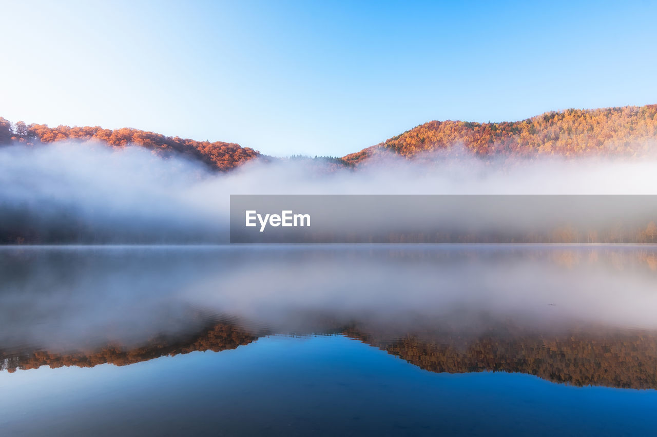 Scenic view of lake against mountains and sky
