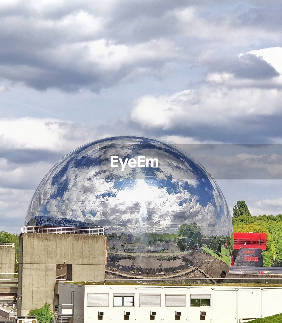 cloud - sky, built structure, sky, architecture, building exterior, nature, day, no people, building, outdoors, sphere, reflection, glass - material, tree, city, transparent, dome, plant, shape